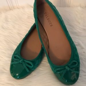 Talbots Green Quilted Flats EUC